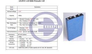 Specyfikacja ogniw LiFePO4 80Ah