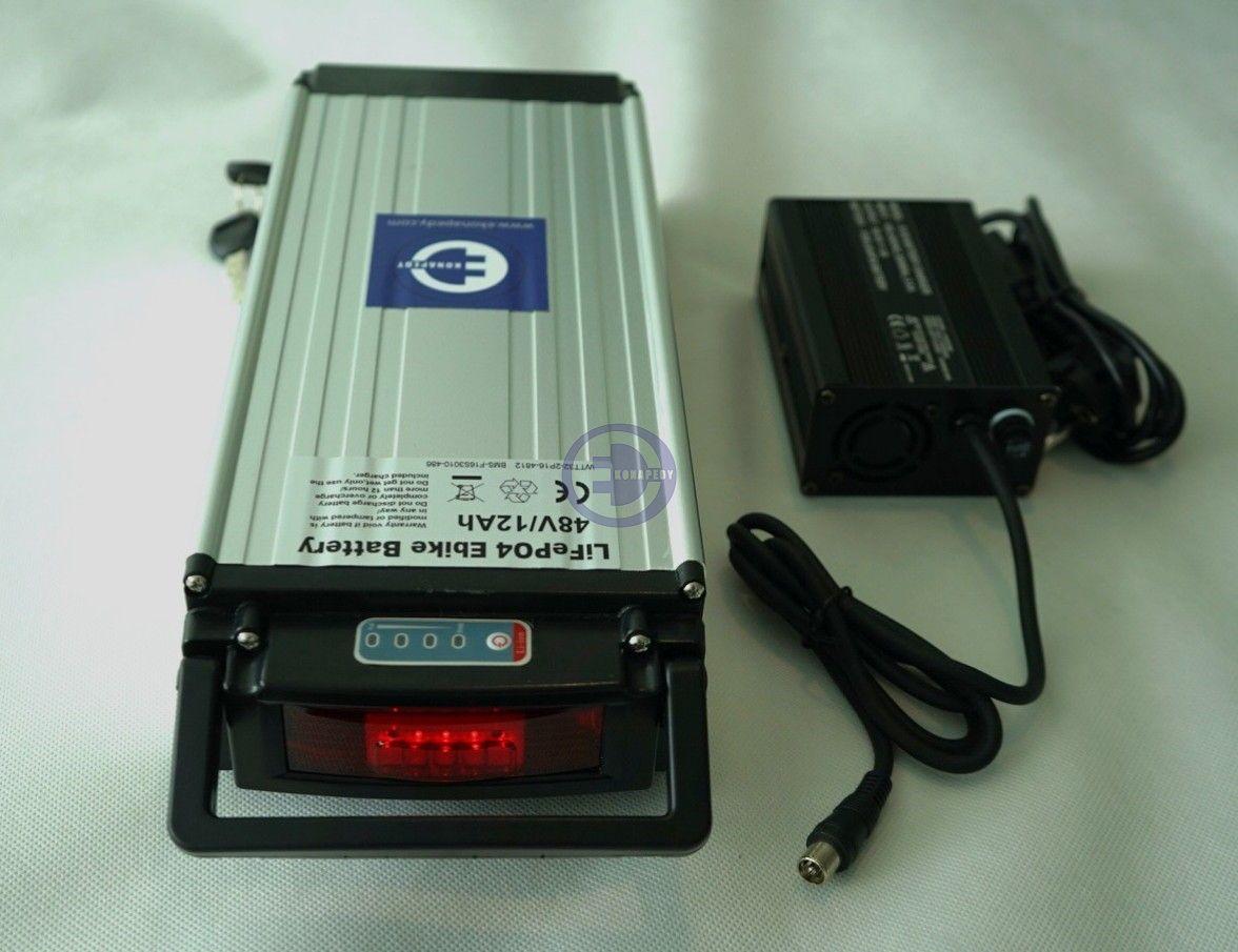 Układ zasilania LIFePO4 48V 12Ah na bagażnik, stan naładowania baterii